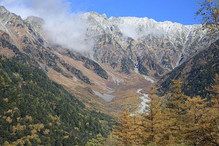 上高地のカラマツの黄葉と穂高の雪とのコントラスト。